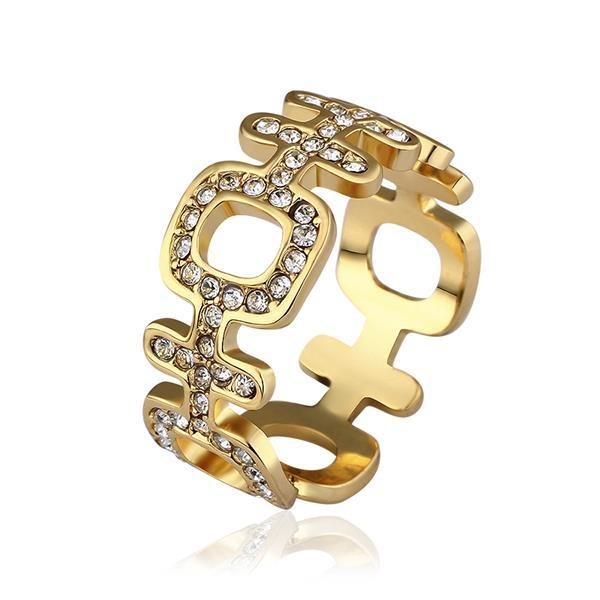 Vienna Jewelry Gold Plated Laser Cut Horizontal Modern Ring Size 8
