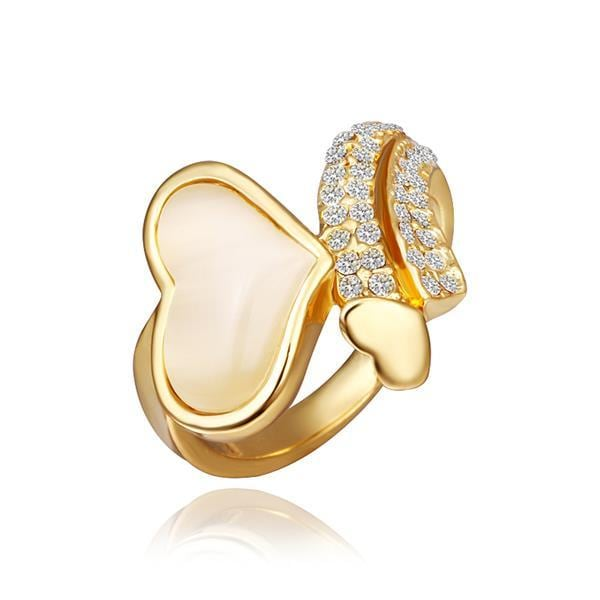 Vienna Jewelry Gold Plated Crystal Heart Shaped Ring Size 8