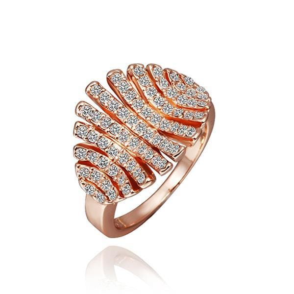 Vienna Jewelry Rose Gold Plated Open Cut Leaf Branch Ring Size 8