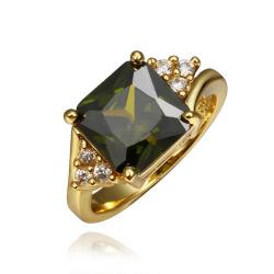 Vienna Jewelry Gold Plated Emerald Center Ring Size 8 - Thumbnail 0