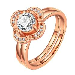 Vienna Jewelry Rose Gold Plated Petite Clover Shaped Ring Size 7 - Thumbnail 0