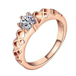 Vienna Jewelry Rose Gold Plated Petite Crystal Classical Modern Ring Size 7 - Thumbnail 0