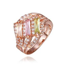 Vienna Jewelry Rose Gold Plated Trio Light Wave Rainbow Jewels Ring Size 8 - Thumbnail 0