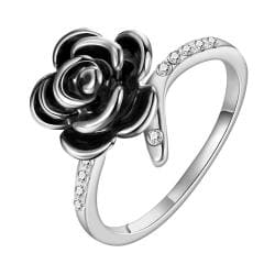 Vienna Jewelry White Gold Plated Onyx Layering Floral Ring Size 8 - Thumbnail 0