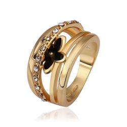 Vienna Jewelry Gold Plated Petite Onyx Floral Ring Size 8 - Thumbnail 0