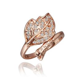 Vienna Jewelry Rose Gold Plated Crystal Jewels Leaf Branch Bring Size 8 - Thumbnail 0