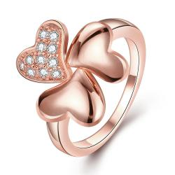 Vienna Jewelry Rose Gold Plated Petite Clover Stud Ring Size 8 - Thumbnail 0