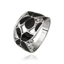Vienna Jewelry White Gold Plated Onyx Layering Laser Cut Ring Size 8 - Thumbnail 0