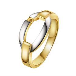 Vienna Jewelry Gold Plated Onyx Layering Interlock Band Ring Size 8 - Thumbnail 0