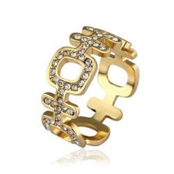 Vienna Jewelry Gold Plated Laser Cut Horizontal Modern Ring Size 8 - Thumbnail 0