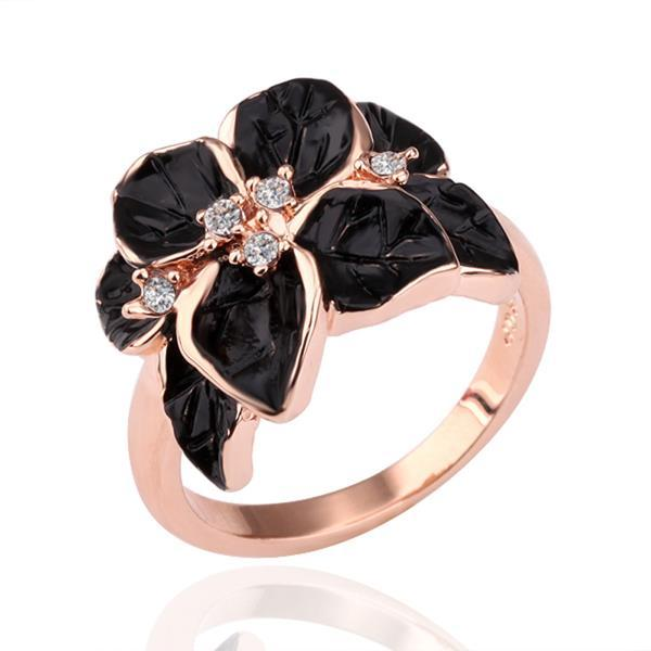 Vienna Jewelry Rose Gold Plated Onyx Flower Petal Ring Size 8