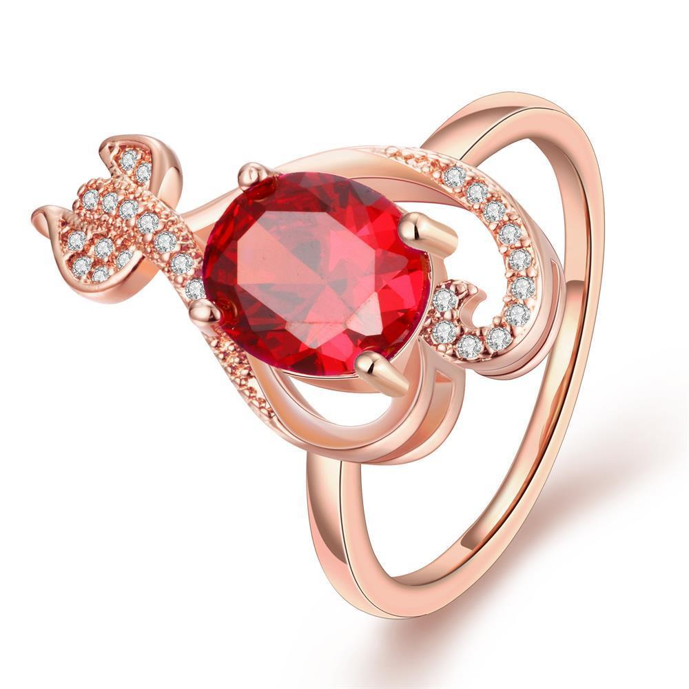 Vienna Jewelry Rose Gold Plated Ruby Inspired Tail Whip Ring Size 8