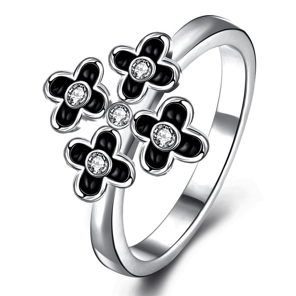 Vienna Jewelry White Gold Plated Quad-Petite Clover Cocktail Ring Size 7