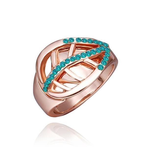 Vienna Jewelry Rose Gold Plated Emerlad Jewels Covering Swirl Emblem Ring Size 8
