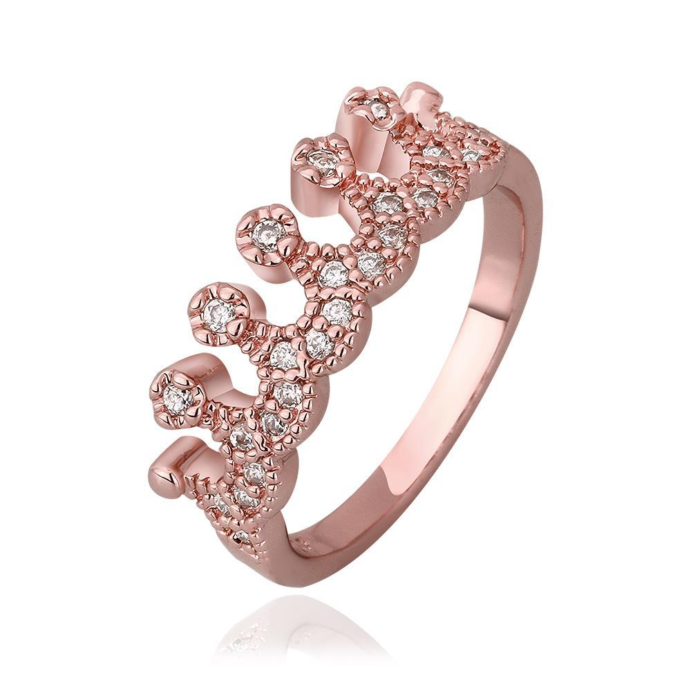 Vienna Jewelry Rose Gold Plated Swirl Desgin Tiara Ring Size 8