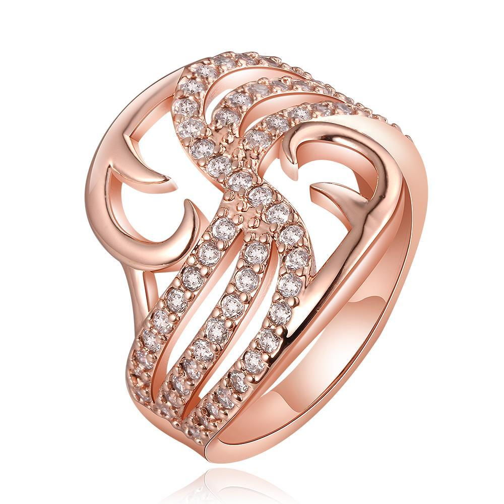 Vienna Jewelry Rose Gold Plated Hollow Abstract Desginer Inspired Ring Size 8