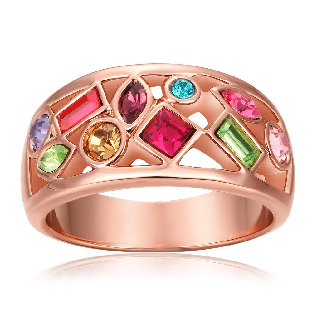 Vienna Jewelry Rose Gold Plated Rainbow Crusted Ring Size 8