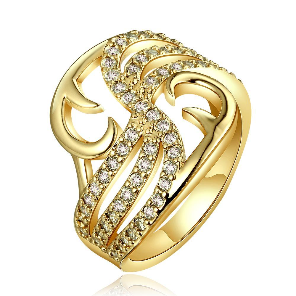 Vienna Jewelry Gold Plated Hollow Abstract Desginer Inspired Ring Size 7