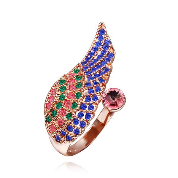 Vienna Jewelry Rose Gold Plated Rainbow Jewels Layering Ring Size 8