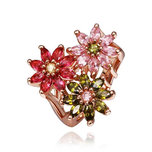 Vienna Jewelry Rose Gold Plated Blossoming Floral Ring Size 8