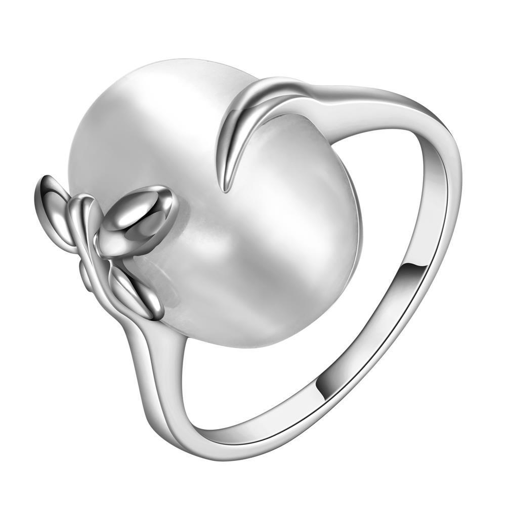 Vienna Jewelry White Gold Plated Closing Pearl Center Ring Size 8