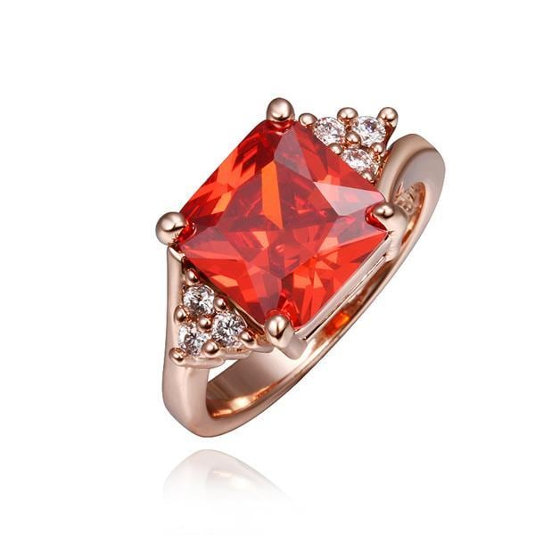 Vienna Jewelry Rose Gold Plated Ruby Red Center Ring Size 8