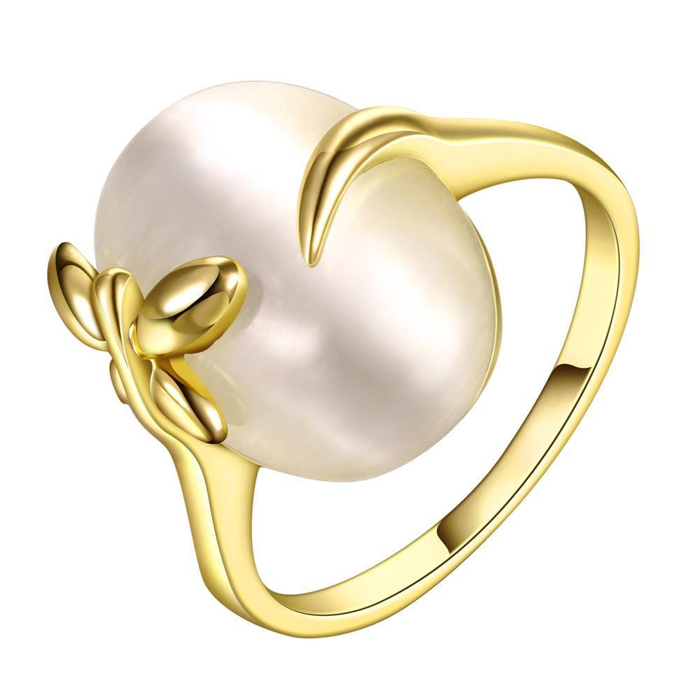 Vienna Jewelry Gold Plated Closing Pearl Center Ring Size 7