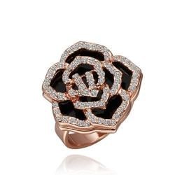Vienna Jewelry Rose Gold Plated Crystal Jewels Covering Floral Ring Size 8 - Thumbnail 0