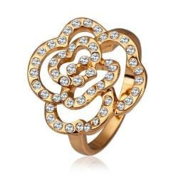 Vienna Jewelry Gold Plated Laser Cut Blossoming Floral Ring Size 8 - Thumbnail 0