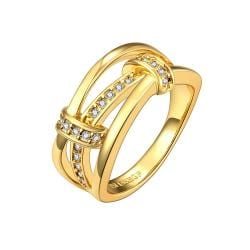 Vienna Jewelry Gold Plated Trio-Linear Jewels Covering Ring Size 8 - Thumbnail 0
