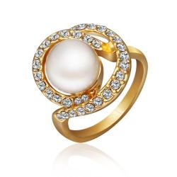 Vienna Jewelry Gold Plated Swirl Pearl Ring Size 8 - Thumbnail 0