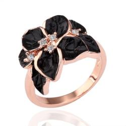 Vienna Jewelry Rose Gold Plated Onyx Flower Petal Ring Size 8 - Thumbnail 0