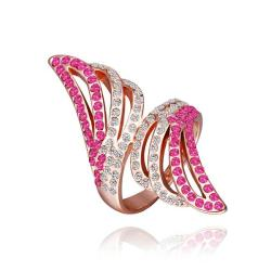 Vienna Jewelry Rose Gold Plated Coral Jewels Floral Orchid Ring Size 8 - Thumbnail 0