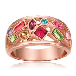 Vienna Jewelry Rose Gold Plated Rainbow Crusted Ring Size 8 - Thumbnail 0