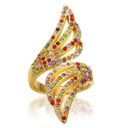 Vienna Jewelry Gold Plated Floral Orchid Rainbow Jewels Ring Size 8 - Thumbnail 0