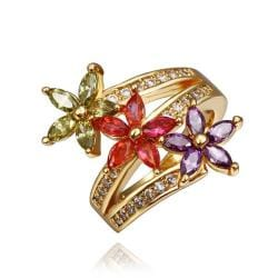 Vienna Jewelry Gold Plated Trio Rainbow Swril Ring Size 8 - Thumbnail 0