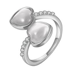 Vienna Jewelry White Gold Plated Double Heart Shaped Ivory Plating Ring Size 8 - Thumbnail 0