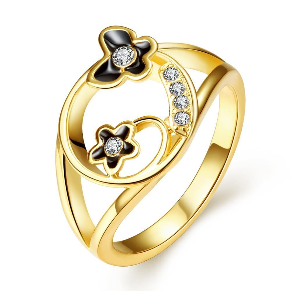 Vienna Jewelry Gold Plated Petite Butterfly Circular Ring Size 7