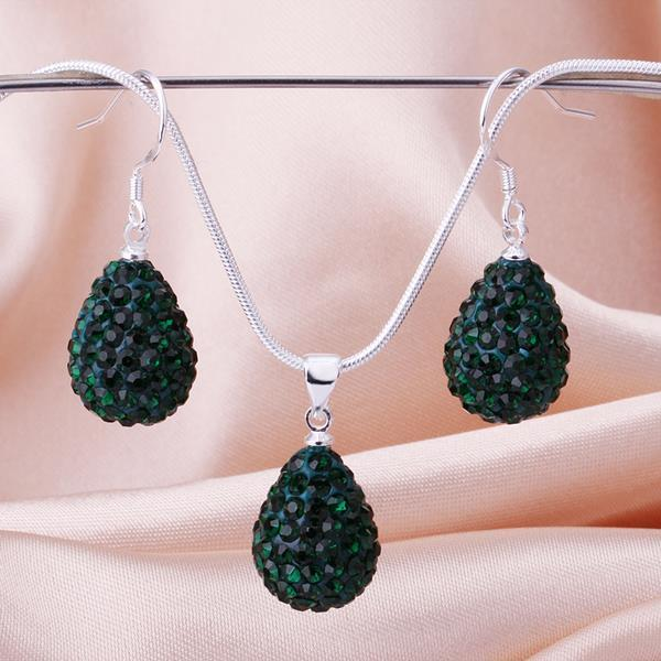 Vienna Jewelry Austrian Crystal Element Solid-Pave Pear Earring and Necklace Set-Emerald Crystal