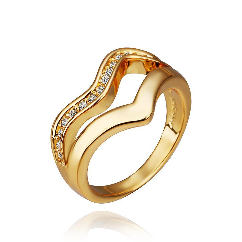 Vienna Jewelry Gold Plated V Line Swirl Ring Size 8