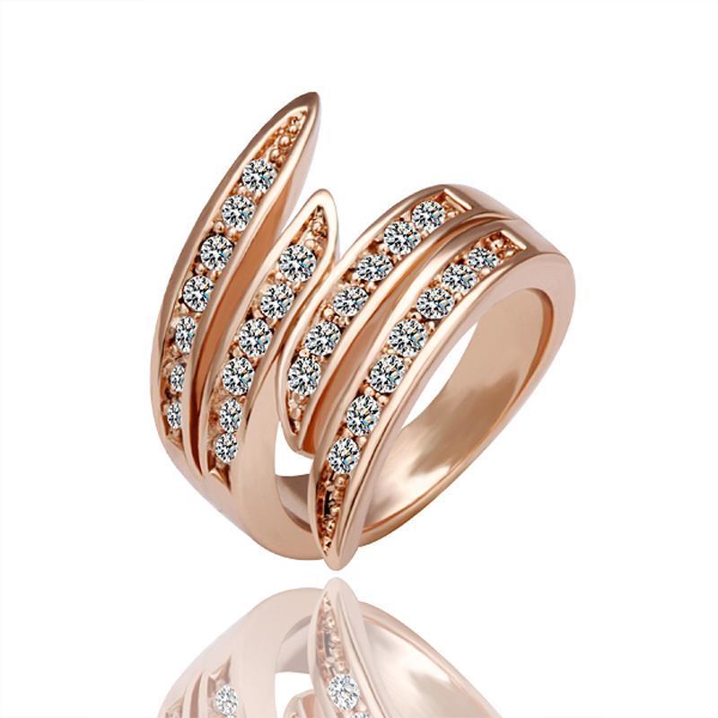 Vienna Jewelry Rose Gold Plated Curvy Swirl Ring Size 6