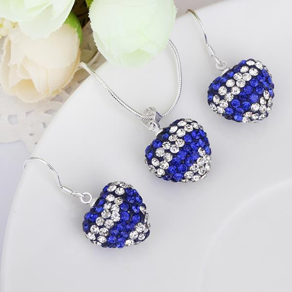 Vienna Jewelry Austrian Crystal Element Multi-Pave Heart Drop Earring and Necklace Set-Royal Blue Crystal