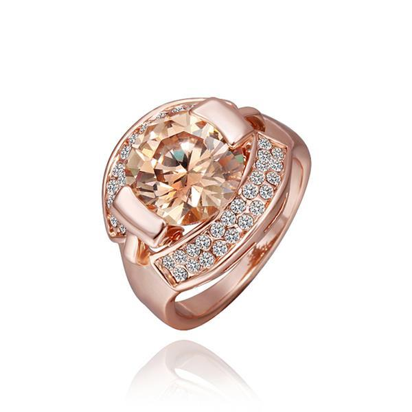Vienna Jewelry Rose Gold Plated Floral Orange Citrine Ring Size 8