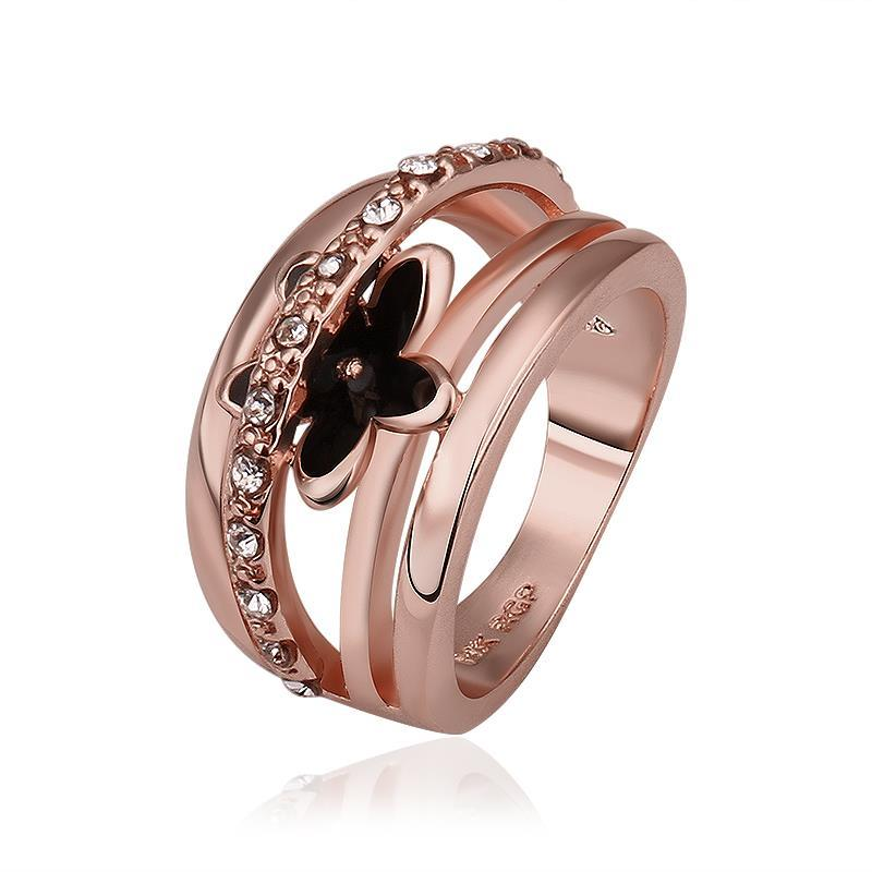 Vienna Jewelry Rose Gold Plated Petite Onyx Floral Ring Size 8