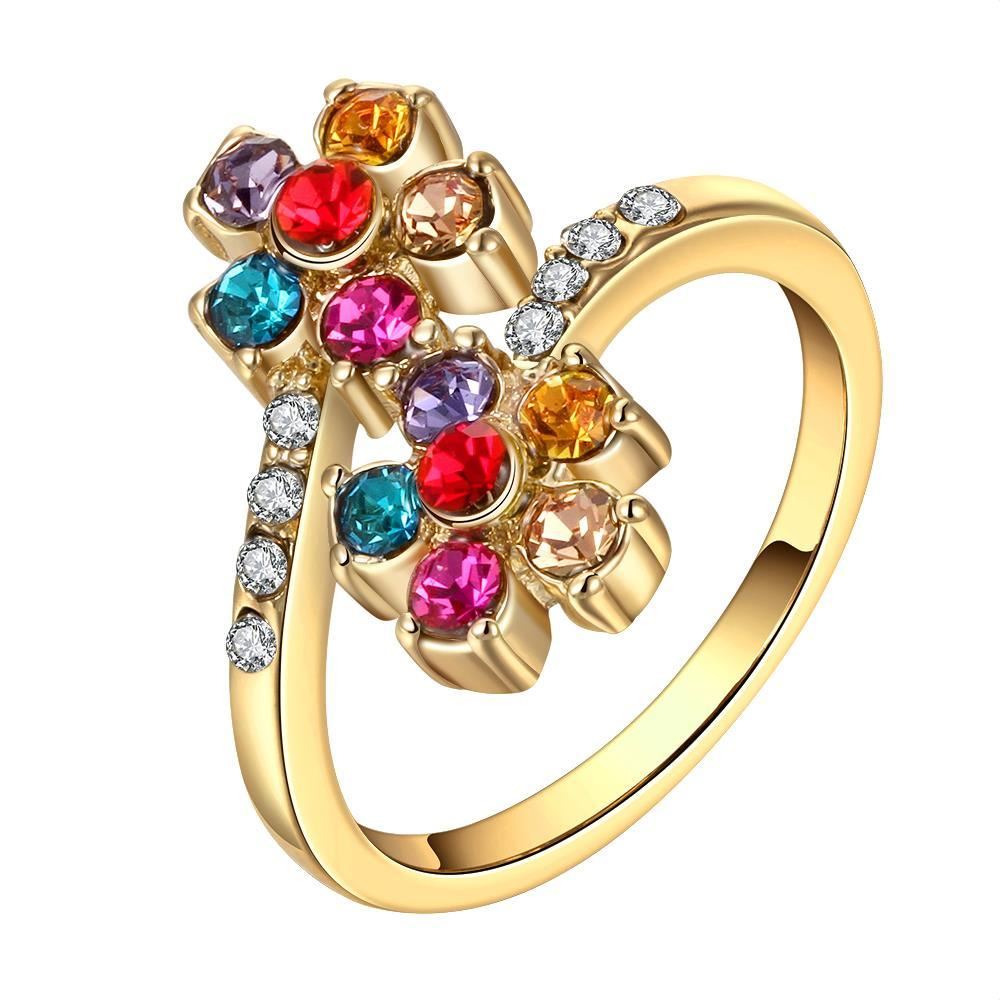 Vienna Jewelry Gold Plated Rainbow Colored Orchid Ring Size 8