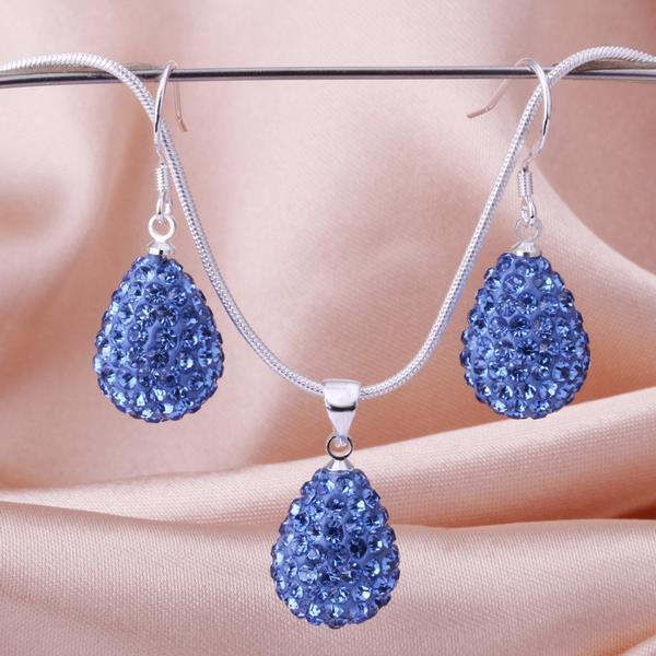 Vienna Jewelry Austrian Crystal Element Solid-Pave Pear Earring and Necklace Set-Blue Crystal
