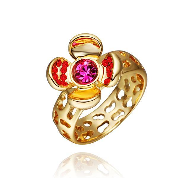 Vienna Jewelry Gold Plated Open Coral Gem Ring Size 8