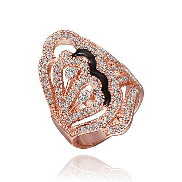 Vienna Jewelry Rose Gold Plated Gold Crusted Onyx Lining Ring Size 8