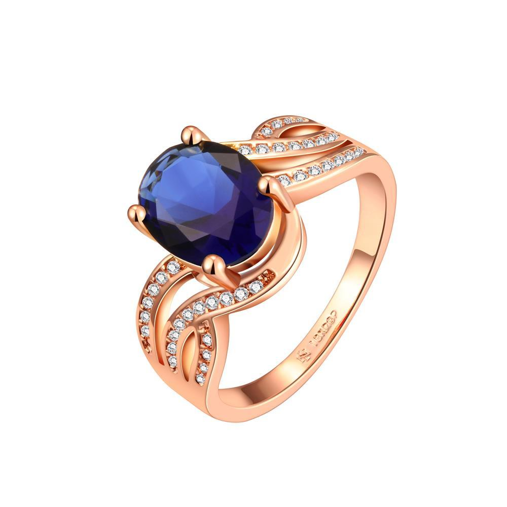 Vienna Jewelry Rose Gold Plated Saphire Gem Swirl Modern Ring Size 8