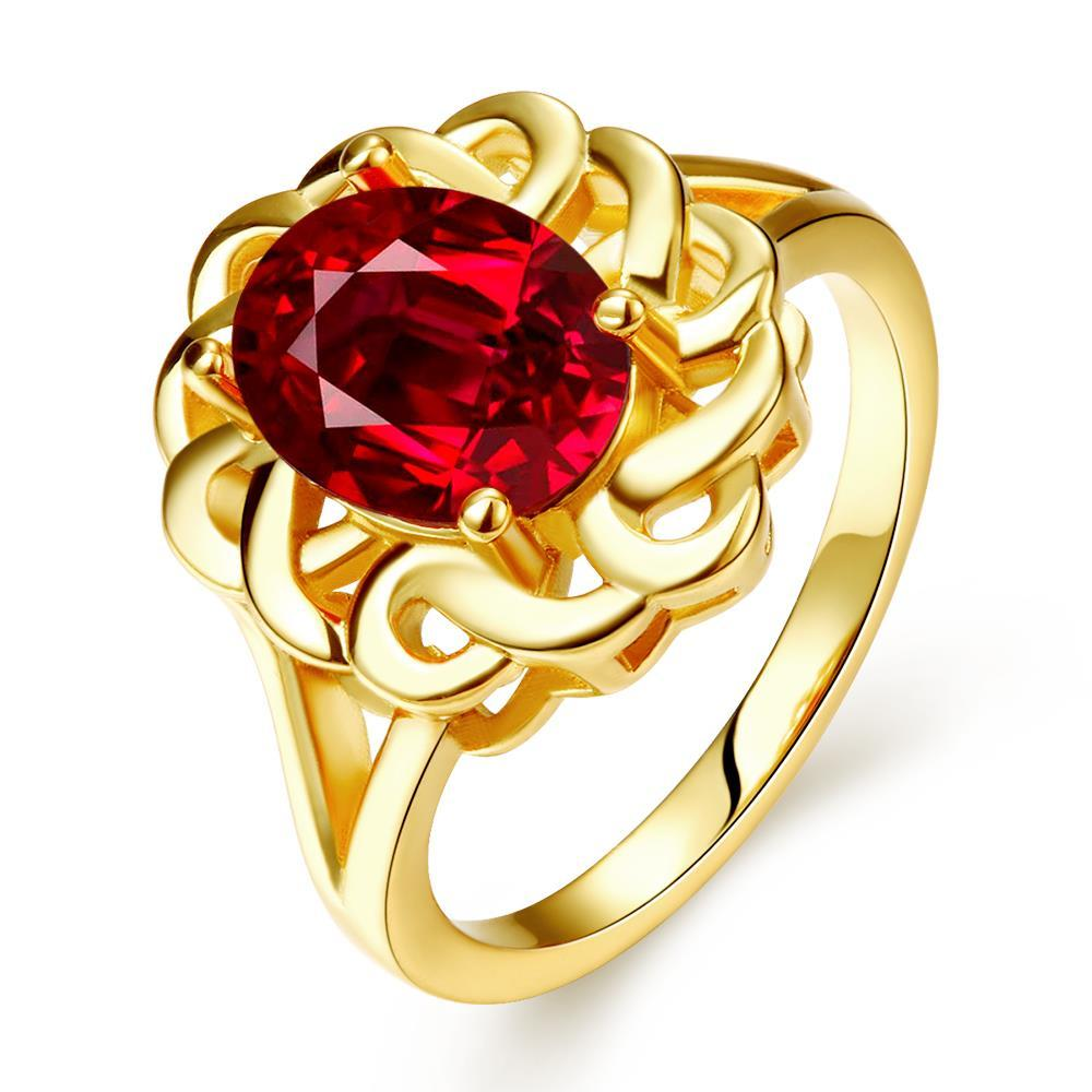 Vienna Jewelry Gold Plated Chain Lock Ruby Red Ring Size 8